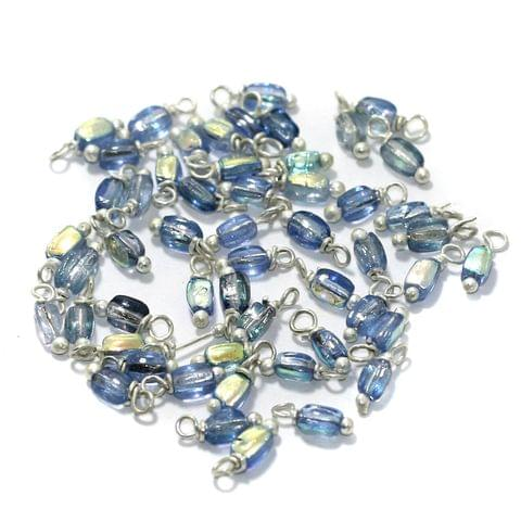 240 Pcs, 5mm Glass Loreal Beads Sky Blue Silver Plated