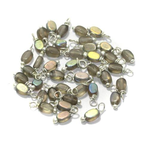 240 Pcs, 5mm Glass Loreal Beads Grey Silver Plated