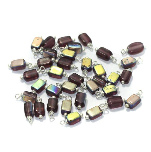 165 Pcs, 7mm Glass Loreal Beads Purple Silver Plated