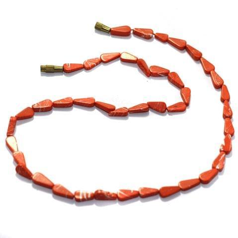 2 Strings Semiprecious Howlite Flat Drop Beads 9x6mm