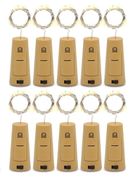 Bottle LED Lights with Cork, Battery Operated LED Cork Shape (Pack of 10)