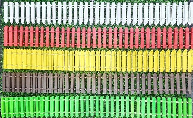 Garden Wooden Fence Miniatures for Fairy Garden/Craft Work - 1 Meter (Set of 5 Colors)