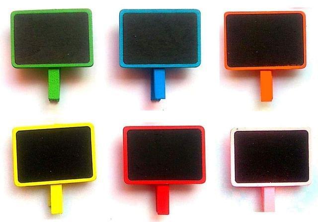 Rectangular Mini Chalkboard with Wooden Blackboard Clip for Message Board (Pack of 6)