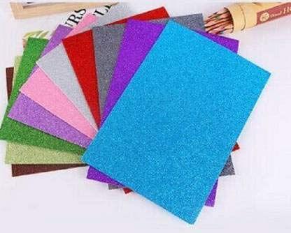 Glitter Foam Sheet Unruled A4 1299 GSM A4 Paper (Set of 1, Multicolor)