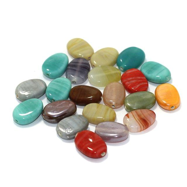 50 Pcs Glass Flat Oval Beads Multicolor 18x13mm