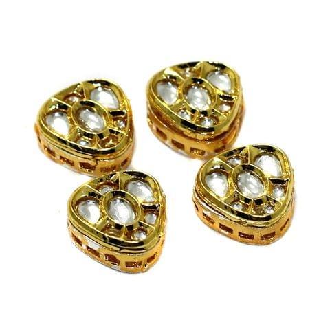 4 Pcs Kundan Spacer Beads 15mm
