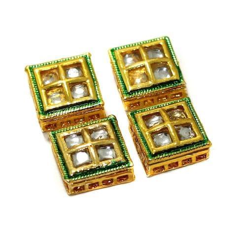 4 Pcs Kundan Spacer Beads 13x13mm