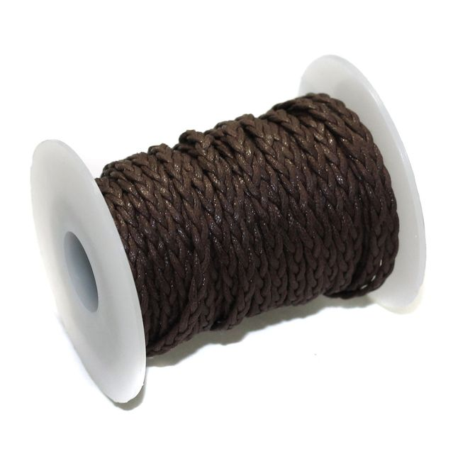 10 Mtrs 3 Ply Braided String Cotton Cords Rope Dark Brown 3mm