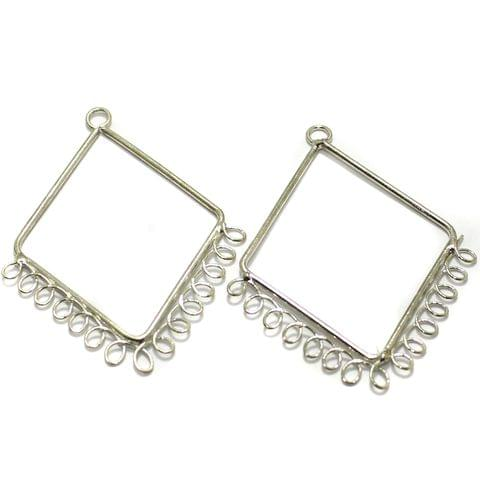 2 Pairs Brass Earrings Components Diamond 2 Inch