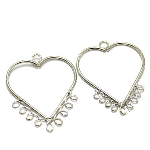 2 Pairs Brass Earrings Components Heart 1.50 Inch