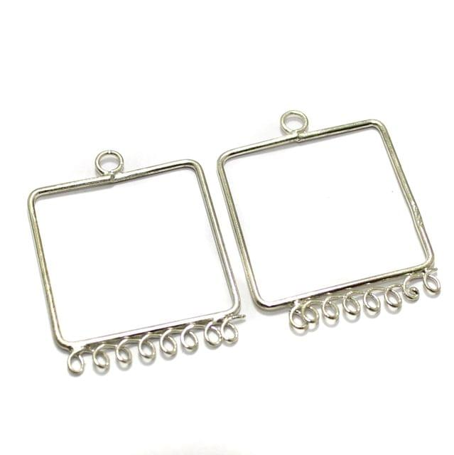 2 Pairs Brass Earrings Components Square 1.25 Inch