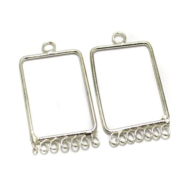 2 Pairs Brass Earrings Components Rectangle 1.5 Inch