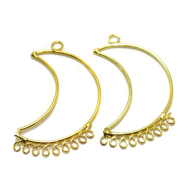 2 Pairs Brass Earrings Components Chandbali Golden 1.75 Inch