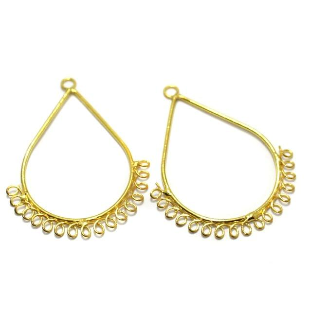 2 Pairs Brass Earrings Components Drop Golden 2 Inch