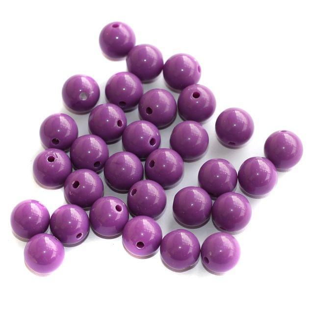 100 Acrylic Round Beads Purple 10mm