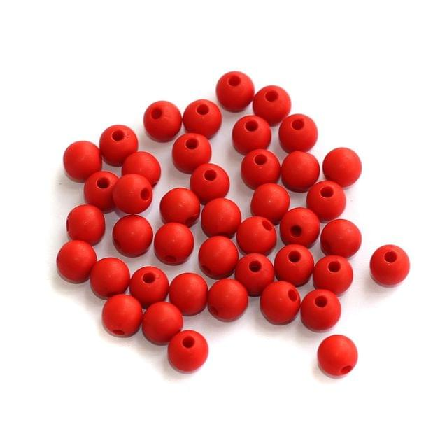 200 Acrylic Round Beads Red 5mm