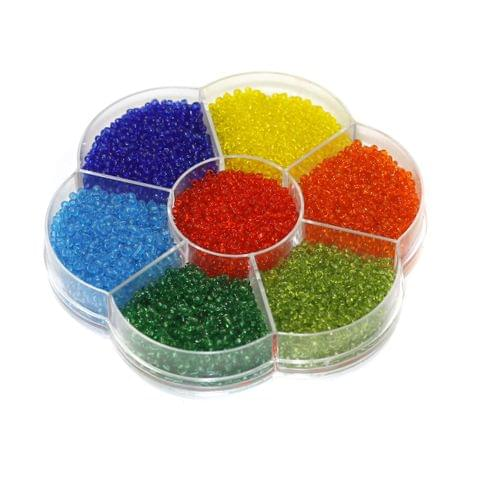 7 Colors Trans Seed Beads Kit, Size 11/0