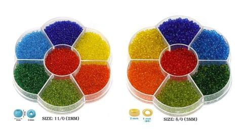 14 Colors Trans Seed Beads Kit, Size 8/0 and 11/0