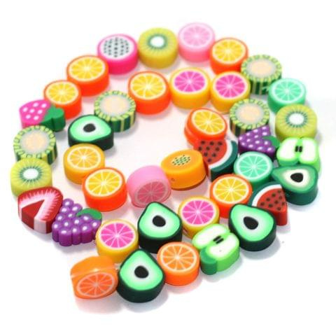 Mix Fruits Multicolor Polymer Clay Fimo Beads 1 String, 10x4mm