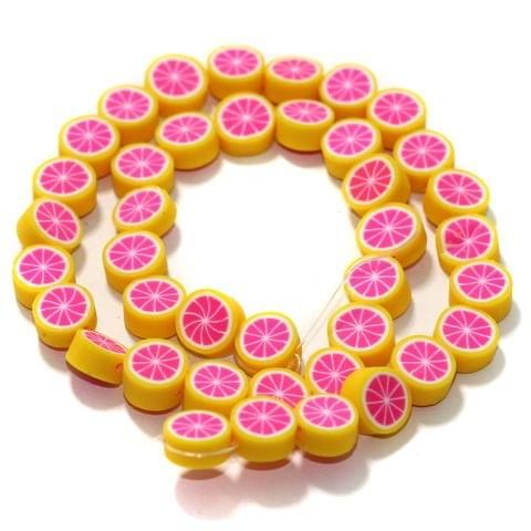 Yellow Polymer Clay Fimo Beads 1 String, 10x4mm