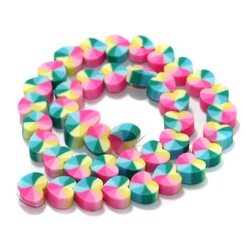 Heart Multicolor Polymer Clay Fimo Beads 1 String, 10x4mm