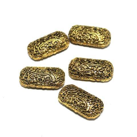 4 Pcs German Silver Golden Plated Beads 30x16mm