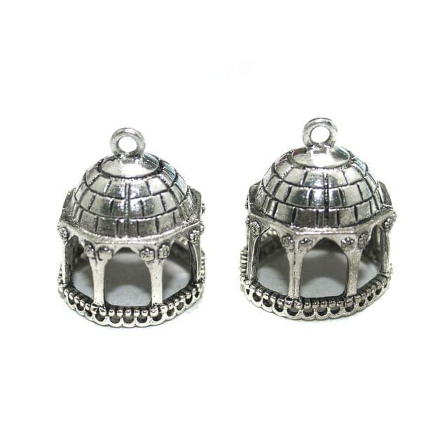 4 Pcs German Silver Jhumki Components 35x21mm