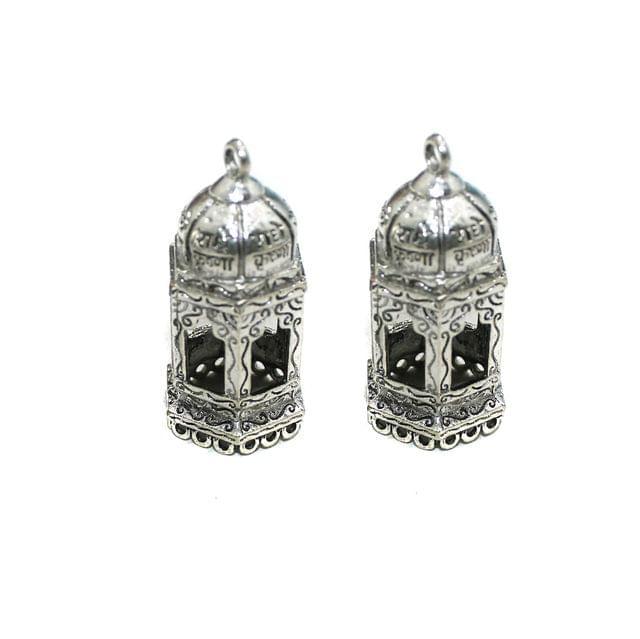 4 Pcs German Silver Radha Krishna Jhumki Components 40x18mm