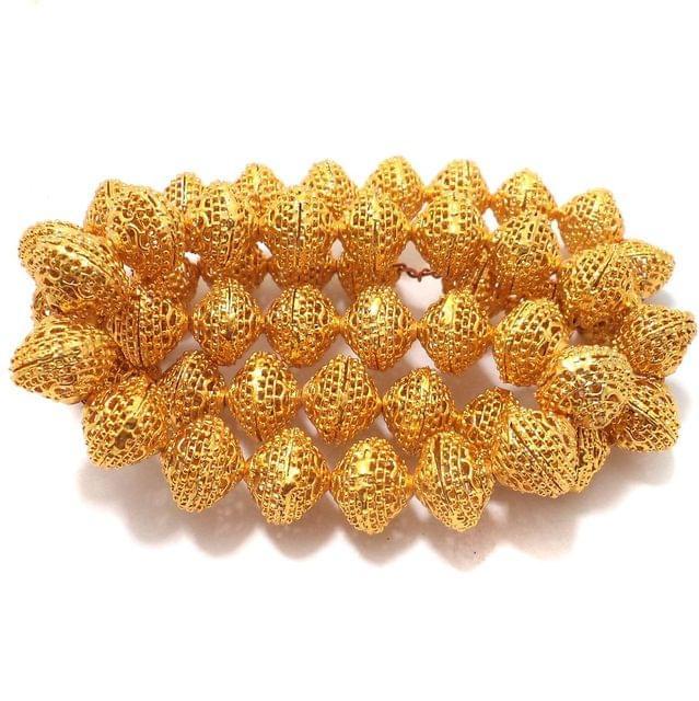 10 Pcs German Silver Rondelle Beads Golden 16x15mm