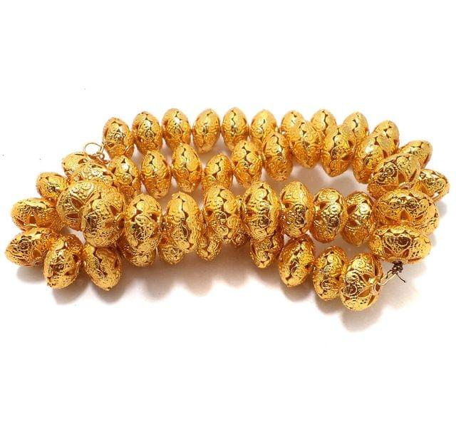 10 Pcs German Silver Rondelle Beads Golden 19x12mm