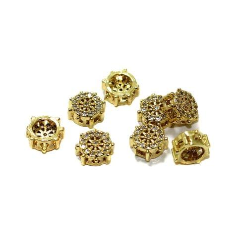4 Pcs CZ Stone Spacer Beads Golden