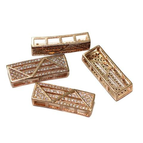 2 Pcs CZ Stone Spacer Beads Rose Gold