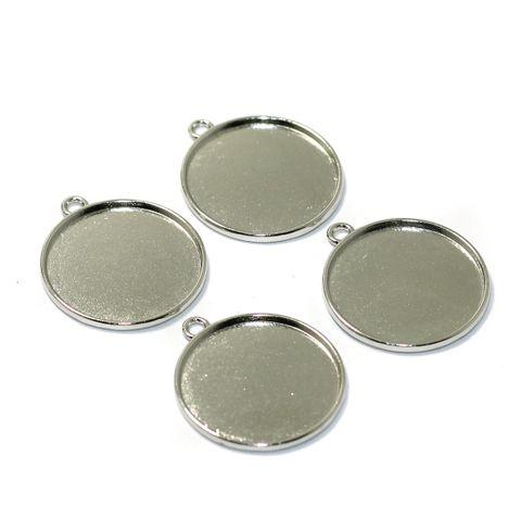 10 Pcs Bezel Setting Pendant Base Silver 1 Inch