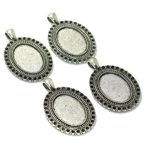 10 Pcs Bezel Setting Pendants Base Silver 1.75 Inchs