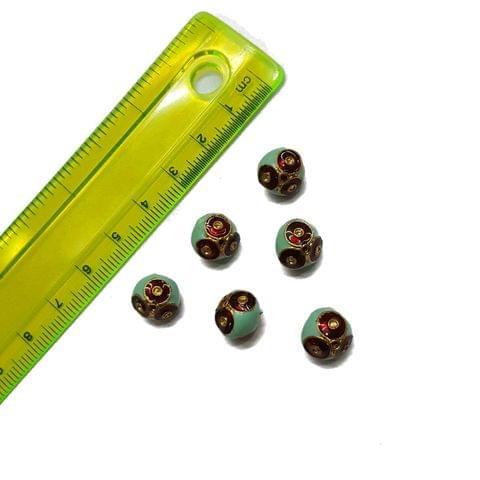 10mm, 6 pcs, Turquoise Meenakari Beads