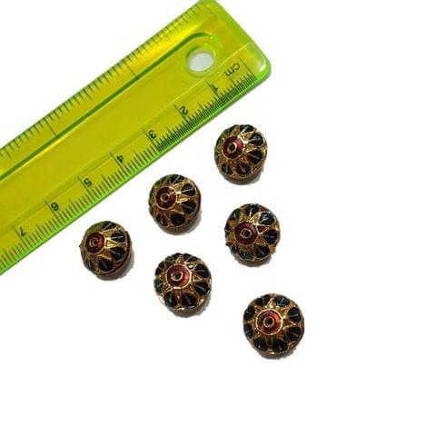 13mm, 6 pcs, Dark Blue Meenakari Beads
