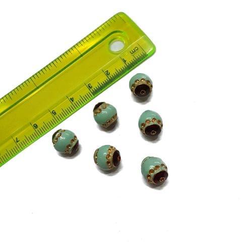 10x12mm, 6 pcs, Turquoise Meenakari Beads