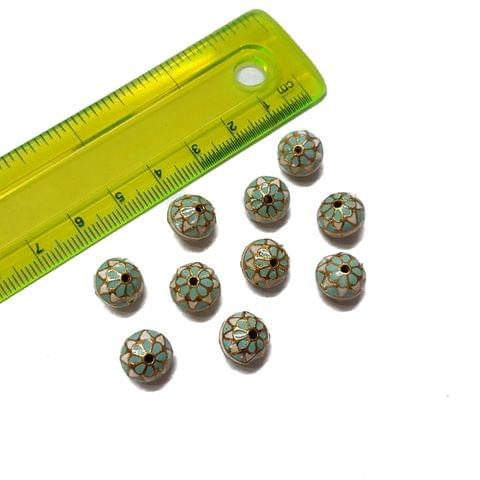 10mm, 10 pcs, White Turquoise Meenakari Beads