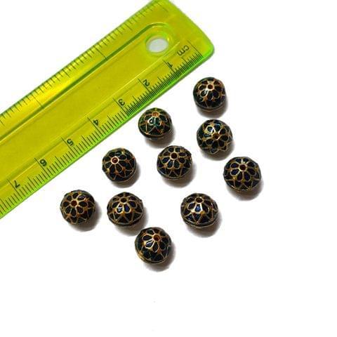 10mm, 10 pcs, Blue Meenakari Beads