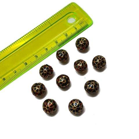 10mm, 10 pcs, Blue Red Meenakari Beads