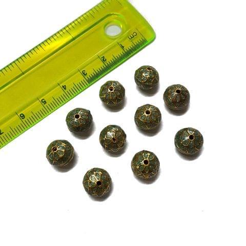 10mm, 10 pcs, Grey Meenakari Beads