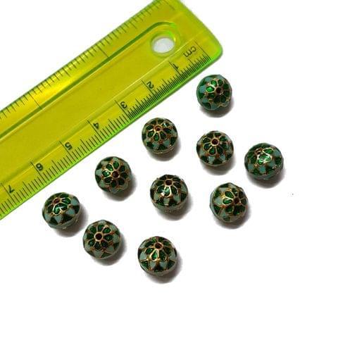 10mm, 10 pcs, Blue Green Meenakari Beads