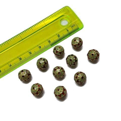 10mm, 10 pcs, Multicolor Meenakari Beads