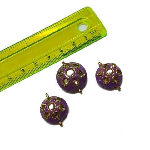 25x23x23mm, 3 pcs set, Purple Meenakari Set