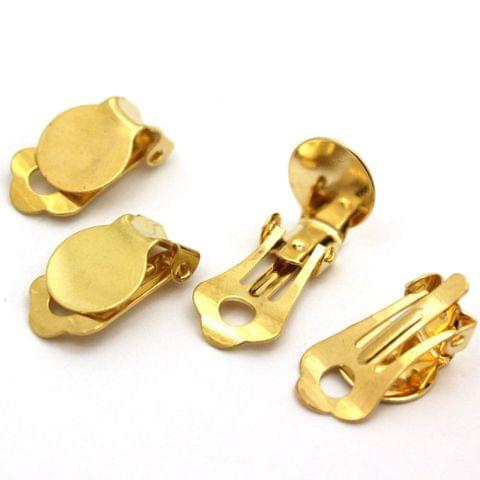 5 Pairs Clip-on Earring Findings Flat Round Base Tray Blank Setting, Size 15x10mm