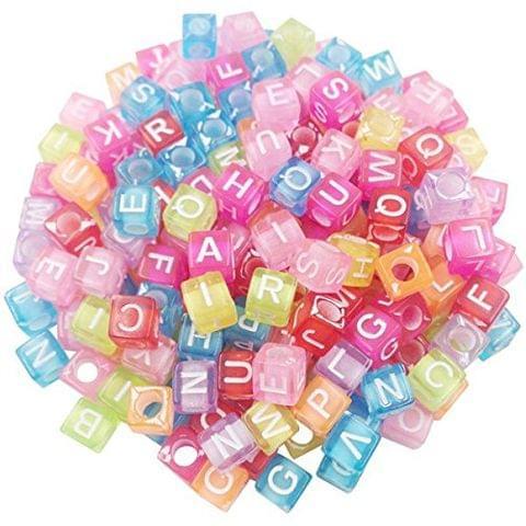 500 Pcs Acrylic Square A to Z Alphabet Letter Beads Multicolor 6mm