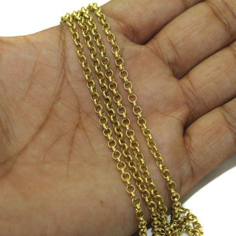 1 Mtr Brass Chain Golden, Link Size 3mm