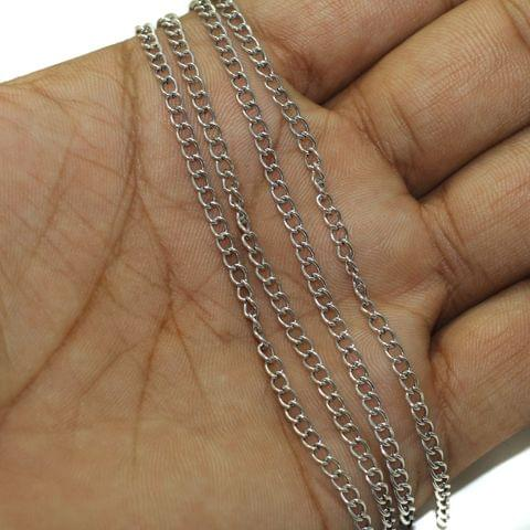 5 Mtrs Metal Chain Silver, Link Size 3X2mm