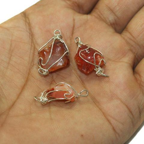 25 Pcs Wire Wrap Onyx Tumbled Stone Beads Orange