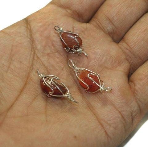 25 Pcs Wire Wrap Onyx Tumbled Jasper Stone Beads
